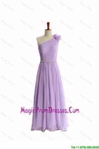 Formal Hand Made Flower and Belt Lilac Prom Dresses with Brush Train