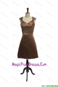 Formal Ruching Short Prom Dresses in Brown for 2016