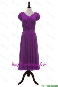 Formal V Neck Pleats Prom Dresses in Eggplant Purple