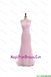 Simple Baby Pink Brush Train Prom Dresses with Hand Made Flowers