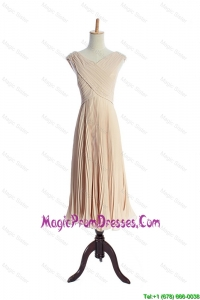 The Super Hot V Neck Pleats Prom Dresses in Champagne for 2016
