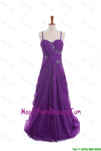 Cheap Appliques and Beading Eggplant Purple Prom Dresses with Sweep Train