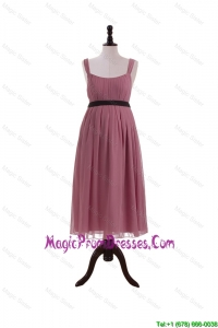 Formal Arrival Straps Short Prom Dresses with Belt and Bowknot