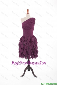 Inexpensive Formal Burgundy Short Prom Dresses with Belt and Ruching