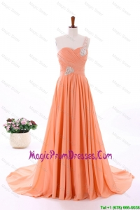 2016 Spring Empire Asymmetrical Recommend Prom Dresses with Beading