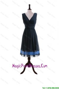 Formal A Line V Neck Prom Dresses with Belt in Navy Blue
