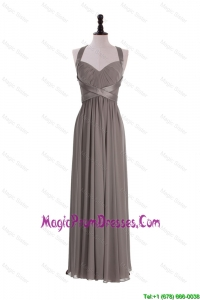 Formal Custom Made Empire Halter Top Prom Dresses with Ruching