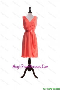 Formal Empire V Neck Prom Dresses with Sashes in Watermelon
