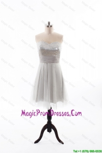 Custom Made 2016 Summer Short Prom Dress with Sequins and Belt