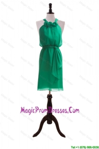 Hand Made Flowers and Sashes Dark Green Luxurious Prom Dresses
