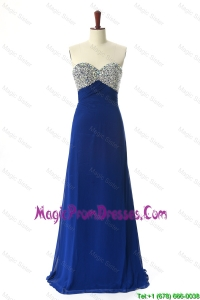 Recommend 2016 Beading Sweep Train Prom Dresses in Royal Blue