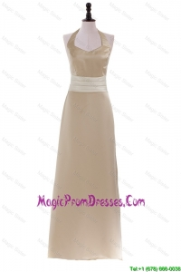 Recommend Champagne Halter Top Sweep Train Long Brand New Prom Dresses