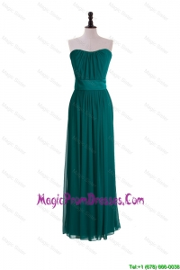 2016 New Style Empire Belt and Ruching Prom Dresses in Dark Green