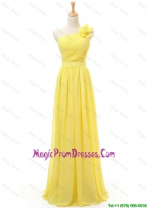 2016 Simple Spring Affordable Empire One Shoulder Prom Dresses with Belt