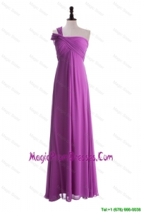 Custom Made Empire One Shoulder Prom Dresses with Ruching