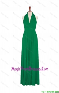 Exquisite 2016 Summer Halter Top Green Long Prom Dresses with Pleats