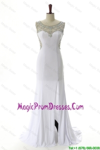 New Style 2016 Empire White Prom Dresses with Beading and High Slit