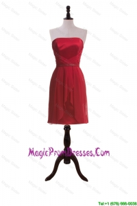 Simple New Style Short Wine Red Prom Dresses with Ruching