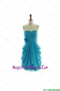 Exclusive Hand Made Flowers Short Prom Dresses in Aqua Blue