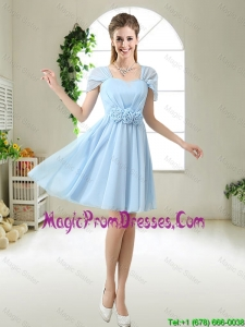 Pretty Hand Made Flowers Prom Dresses with Cap Sleeves