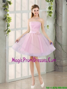 2016 Fall A Line Strapless Ruching Prom Dresses with Belt