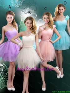Discount Short One Shoulder Prom Dresses with Hand Made Flowers