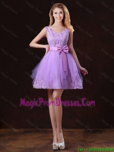 Discount V Neck Tulle Prom Dresses with Bowknot