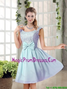 A Line Straps Bowknot Short Prom Dresses with Bowknot