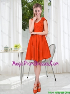 A Line Straps Hand Made Flowers Prom Dresses for 2016 Fall
