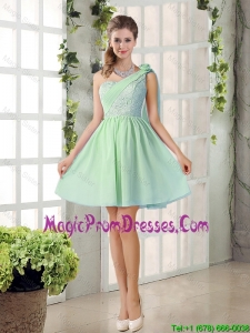 Perfect A Line One Shoulder Lace Prom Dresses Flowers