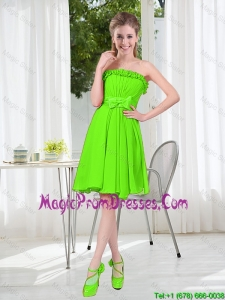 A Line Strapless Bowknot Custom Made Prom Dresses in Spring Green