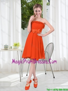 Summer A Line Strapless Bowknot Prom Dress in Rust Red