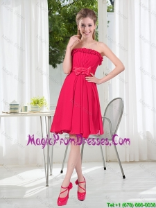 Coral Red Strapless Bowknot Prom Dresses for 2016 Summer