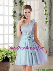 2016 Summer A Line One Shoulder Prom Gowns with Lace