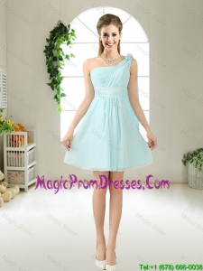 Feminine One Shoulder Hand Made Flowers Prom Gowns