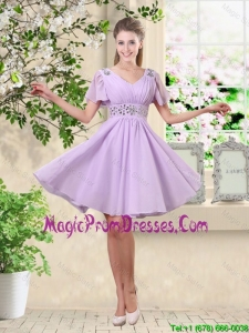 Simple A Line V Neck Beaded Prom Gowns in Lavender