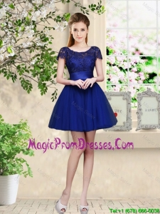 Sturning Bateau Short Royal Blue Prom Gowns with Cap Sleeves