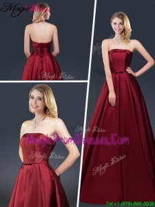 Winter Gorgeous A Line Strapless Prom Dresses with Brush Train