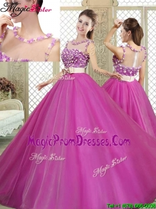 Modern Scoop Prom Dresses with Belt and Appliques