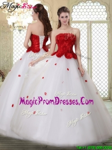 Popular A Line Strapless Prom Dresses with Ruffles