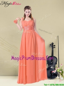 Fall Exclusive Straps Floor Length Prom Dresses with Ruching and Belt