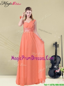Affordable One Shoulder Floor Length Prom Dresses with Ruching and Belt
