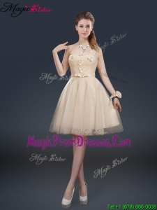 Cheap Strapless Prom Dresses with Appliques and Belt