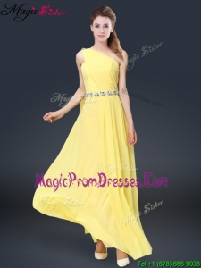 Fashionable One Shoulder Prom Dresses in Yellow