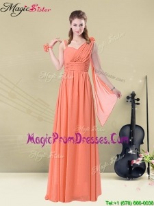 Low price Empire Straps Prom Dresses with Ruching and Belt