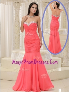 2016 Style Mermaid Sweetheart Coral Red Prom Dress