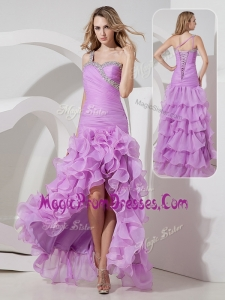 Amazing Column High Low Prom Dress with Ruffled Layers