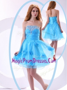 Amazing Short Prom Dress with Beading and Hand Made Flowers