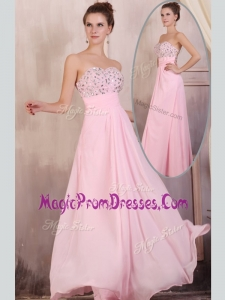 Famous Empire Sweetheart Beading Baby Pink Prom Dress