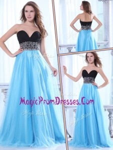 Famous Sweetheart Beading Baby Blue Prom Dress with Brush Train